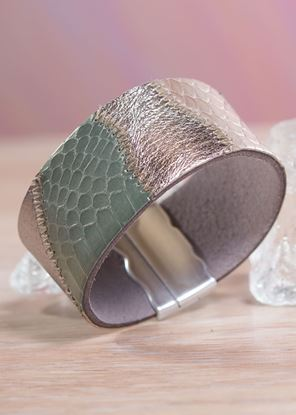 Picture of Leather Patchwork Cuff Bracelet - Green/Bronze
