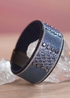 Picture of Leather Studded Cuff Bracelet - Blue