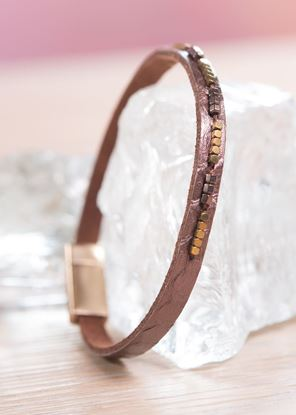 Picture of Thin Leather Cuff Bracelet - Canyon