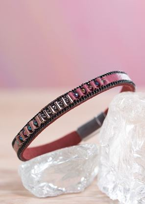 Picture of Thin Leather Cuff Bracelet - Berry Pucker
