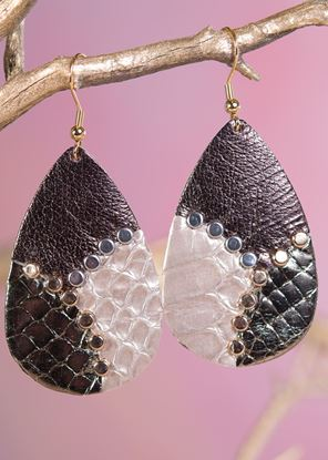 Picture of Leather Studded Teardrop Earring - Bronze Gold