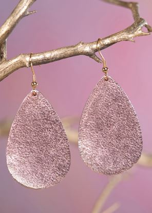 Picture of Leather Teardrop Earring - Rose Gold