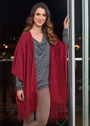 Picture of Crochet Poncho - Berry