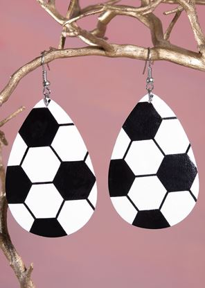 Picture of Leather Teardrop Earring - Soccer Ball