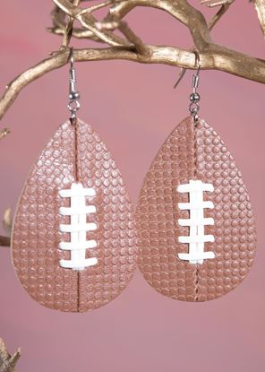 Picture of Leather Teardrop Earring - Football