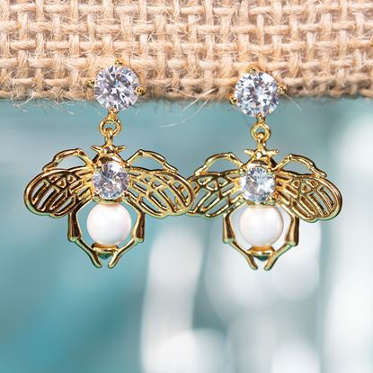 Picture of Bee With Pearl Drop Earrings - Gold