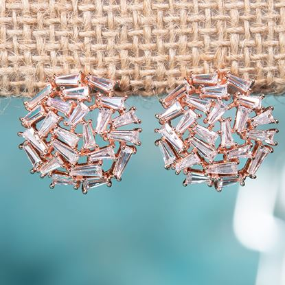 Picture of Baguette Collage Earrings - Rose Gold