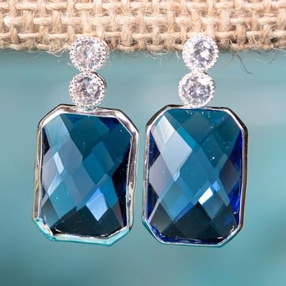 Picture of Blue Emerald Cut Crystal Drop Earrings - Silver