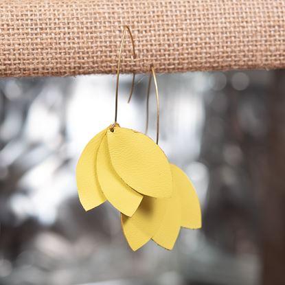 Picture of Leather Petal Earring - Lemon