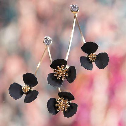 Picture of Double Flower Drop With Crystal Earring - Black