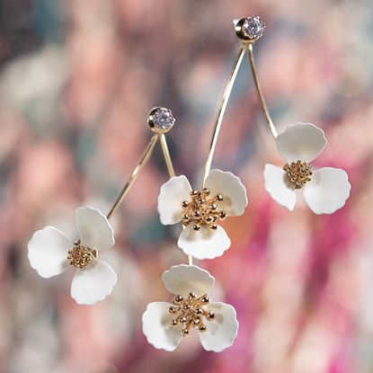 Picture of Double Flower Drop With Crystal Earring - Ivory