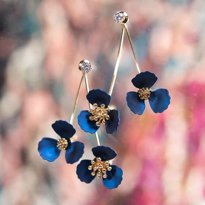 Picture of Double Flower Drop With Crystal Earring - Pearl Blue