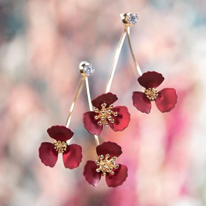 Picture of Double Flower Drop With Crystal Earring - Pearl Wine