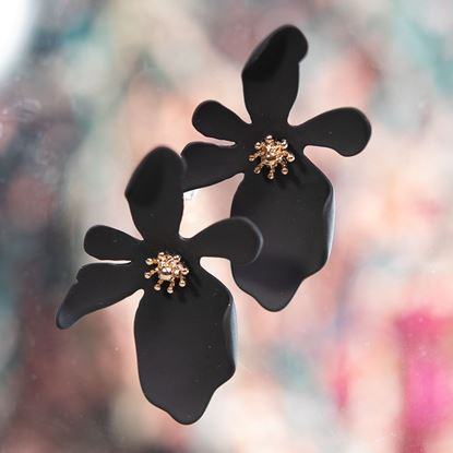 Picture of Large Oblong Flower Earring - Black