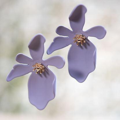 Picture of Large Oblong Flower Earring - Lavender
