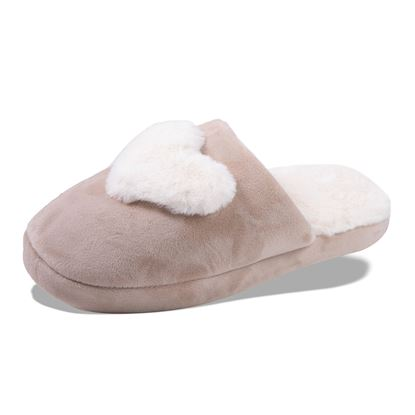 Picture of Plush Heart Slippers - Tan with White Size Run
