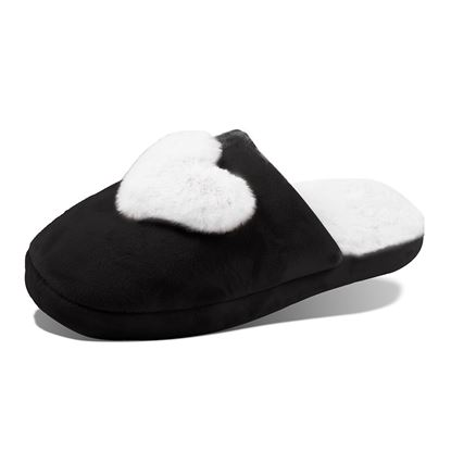 Picture of Plush Heart Slippers - Black with White Size Run