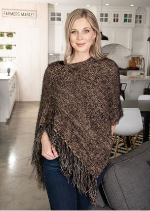 Picture of Asymmetrical Fringe Poncho - Taupe
