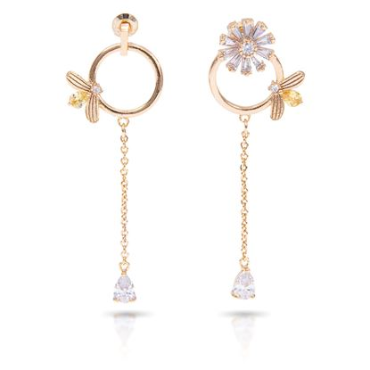 Picture of Bee With Flower Long Earrings - Gold