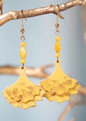 Picture of Ginko Leaf Leather Earrings - Goldenrod