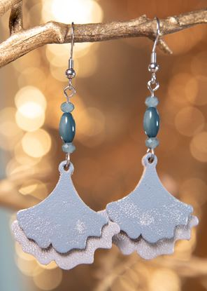 Picture of Ginko Leaf Leather Earrings - Overcast