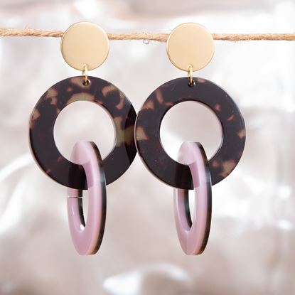 Picture of Double Link Drop Earrings - Mauve/Brown