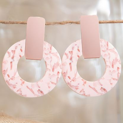 Picture of Bar Drop Hoop Earrings - Blush