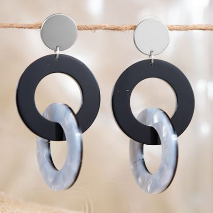 Picture of Double Link Drop Earrings - Ivory/Black