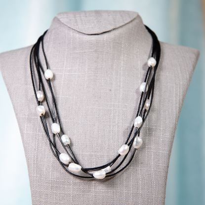 Picture of Black Leather & Pearl Floating Necklace