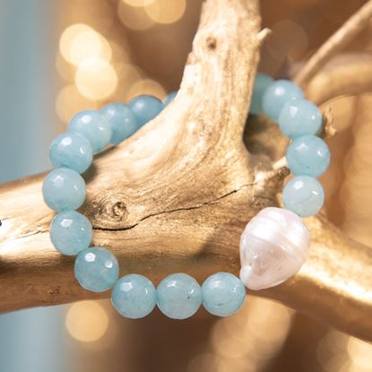 Picture of Aquamarine Baroque Pearl & Agate Stretch Bracelet