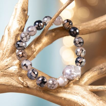 Picture of Black Baroque Pearl & Agate Stretch Bracelet