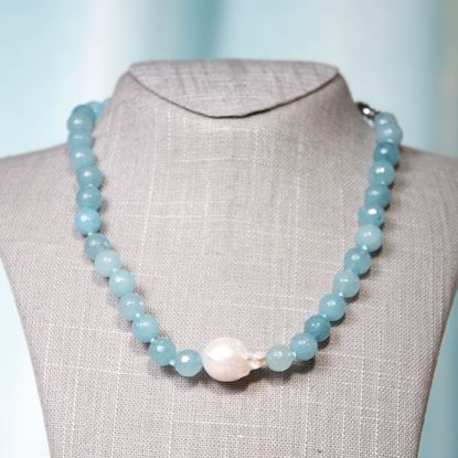 Picture of Aquamarine Baroque Pearl & Agate Necklace
