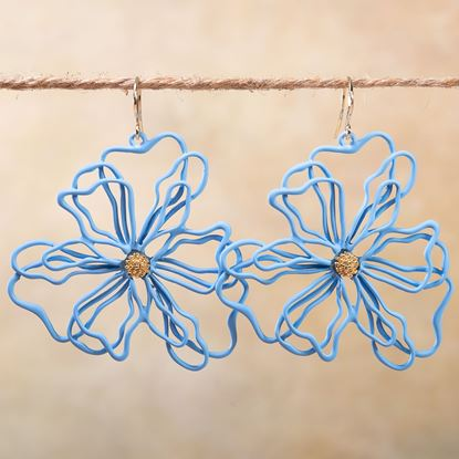 Picture of Open Petal Flower Earrings - Powder Blue