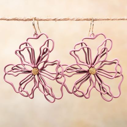 Picture of Open Petal Flower Earrings - Blush