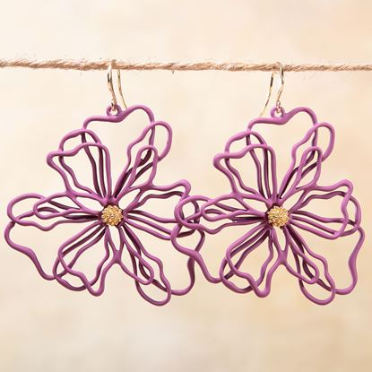 Picture of Open Petal Flower Earrings - Berry