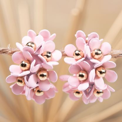 Picture of Cluster Flower Ear Hugger Earrings - Pale Blush