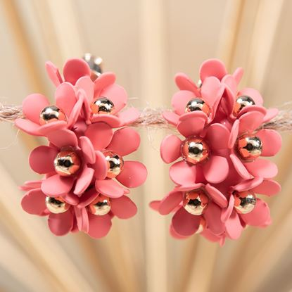 Picture of Cluster Flower Ear Hugger Earrings - Coral