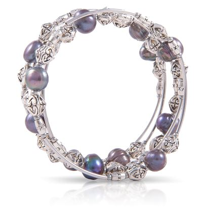 Picture of Pearl Silver Spiral Bracelet - Natural Peacock