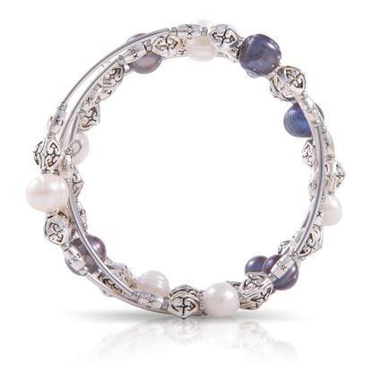 Picture of Pearl Silver Spiral Bracelet - Salt & Pepper