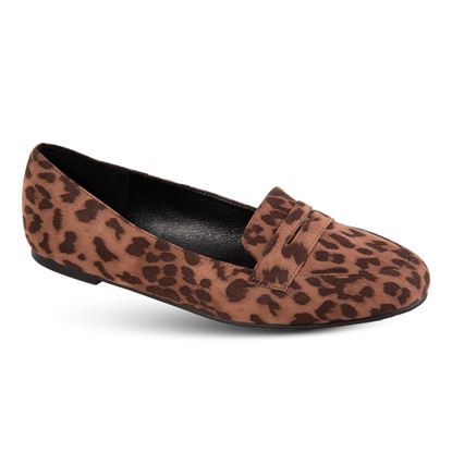 Picture of Faux-Suede Loafer - Size Run A (6-10) - Leopard