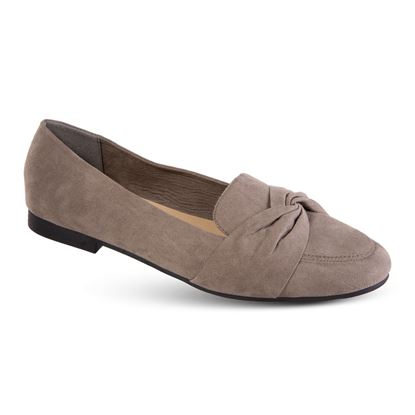 Picture of Faux-Suede Knotted Flat - Size Run A (6-10) - Taupe