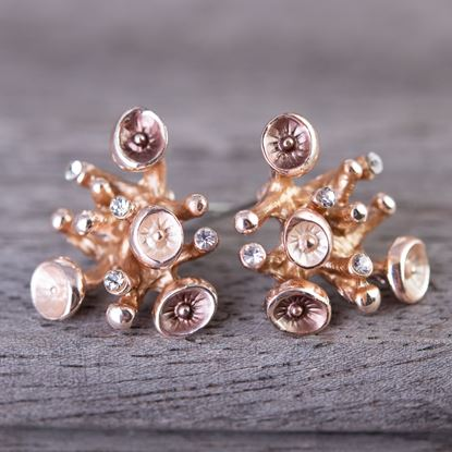 Picture of Rosegold Enameled Earrings - Coral Rose