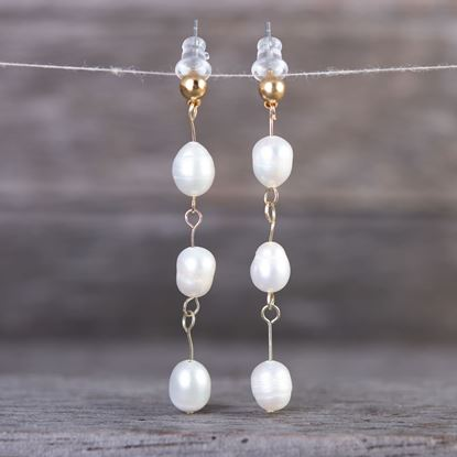Picture of Drop Bars Long Pearl Earrings - Gold