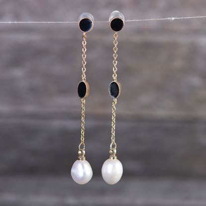 Picture of Black Enameled Drop Long Pearl Earrings - Gold