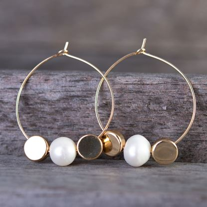 Picture of Double Disc Pearl Hoop Earrings - Gold