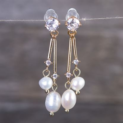 Picture of Double Pearl Crystal Drop Earrings - Gold