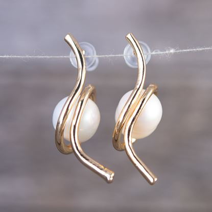 Picture of Cradled Pearl Earrings - Gold