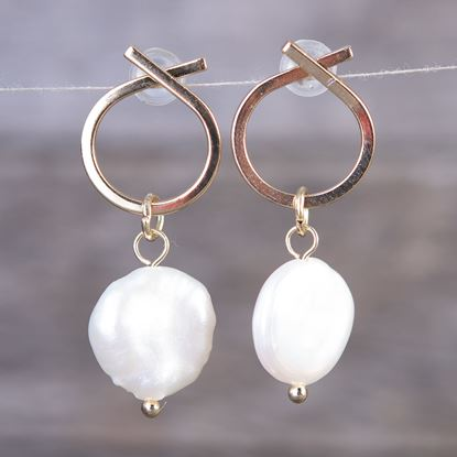 Picture of Crossed Hoop Pearl Drop Earrings - Gold