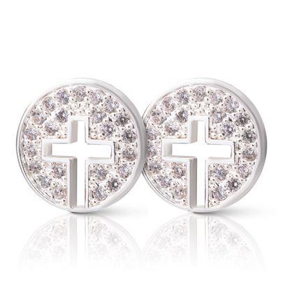 Picture of Cross Halo Stud Earrings - Silver