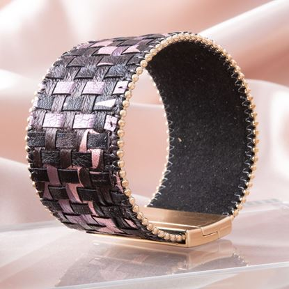 Picture of Woven Leather Cuff Bracelet - Berry